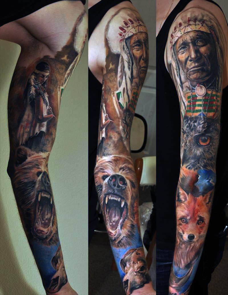 Mehrere Details Tattoo, wie ein Fuchs, ein Wolf und ein Indianer Gesicht