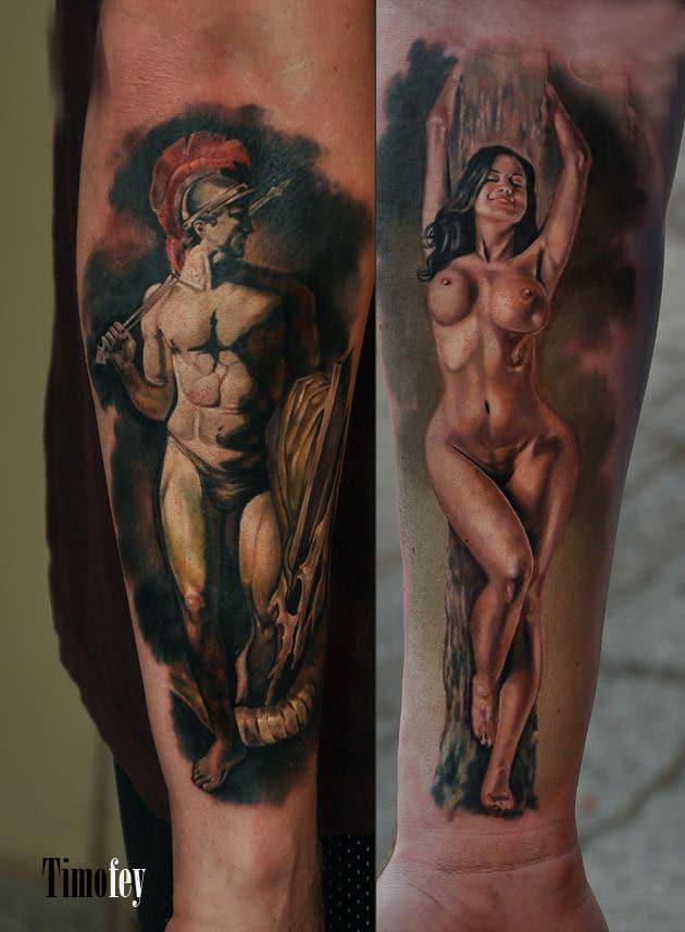 Tattoo mit einer Nackten Frau und einem Nackten Ritter