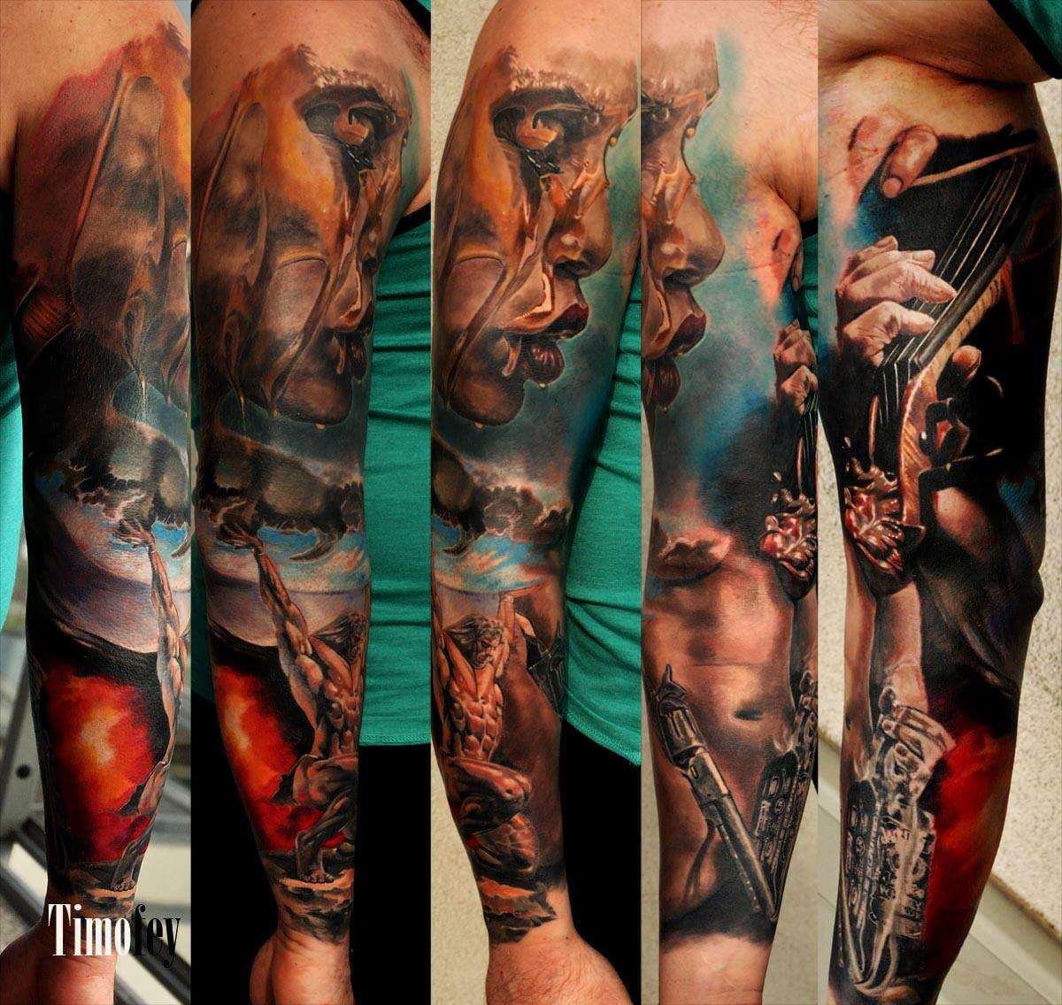 Mehrere Details einer Person und Instrumente auf dem Tattoo