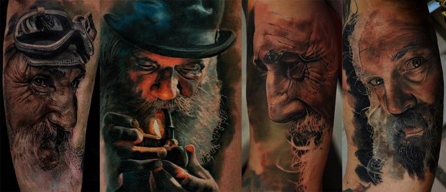 Vier Arten von alten Männern Tattoo