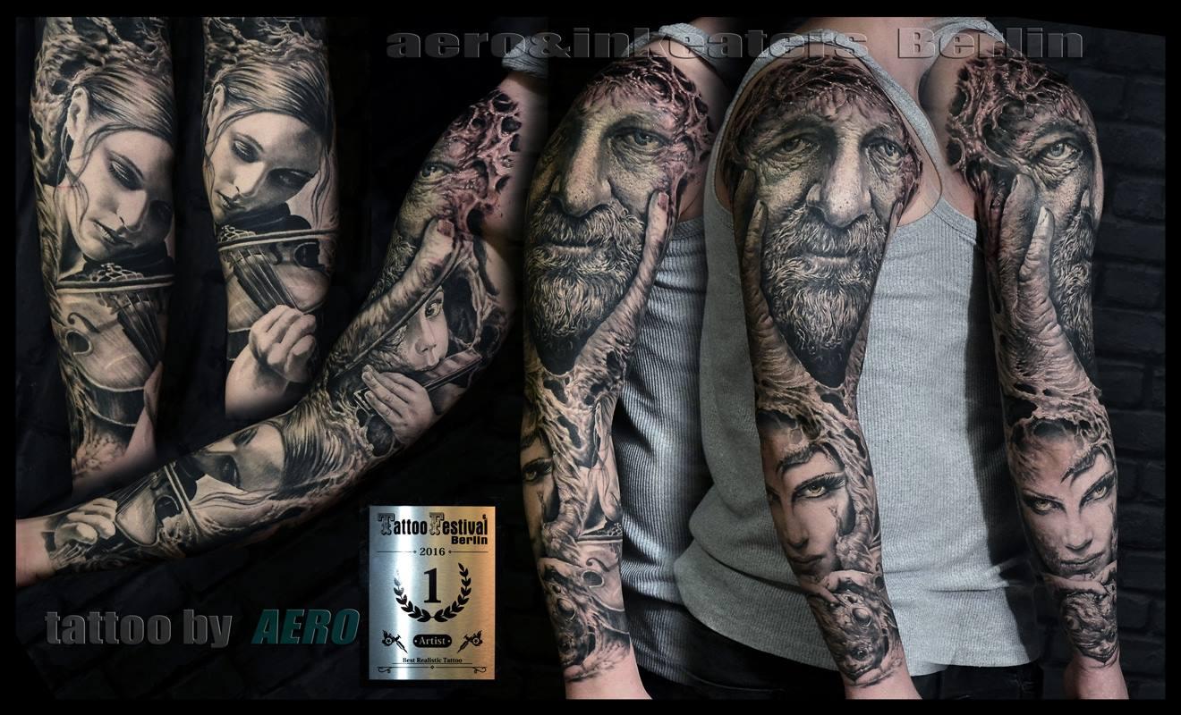 Tattoos von verschiedenen Gesichtern über den ganzen Arm