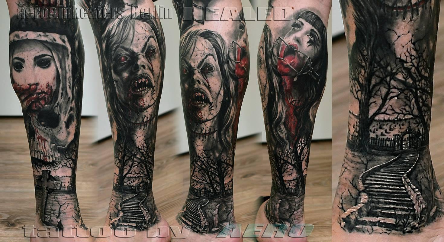 Tattoo von dämonischen Frauengesichtern und einem Wald auf der Wade