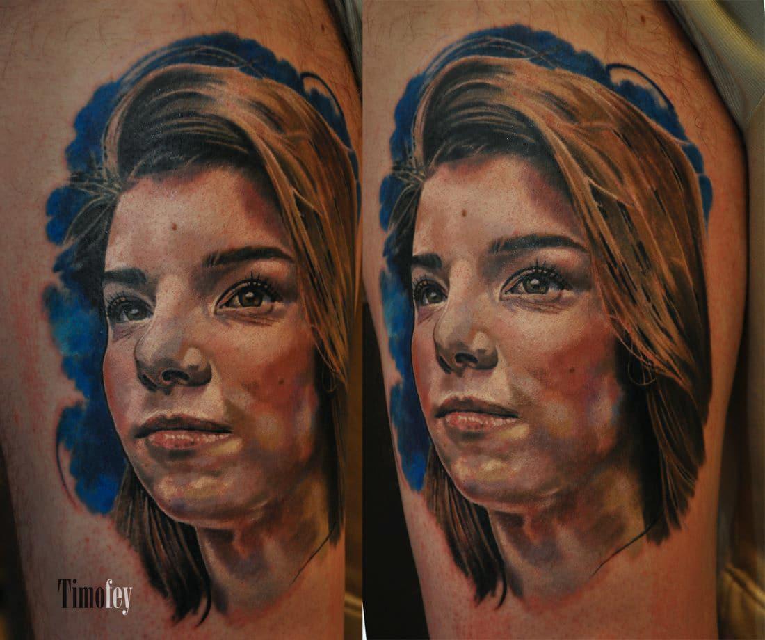 Portrait einer Frau Tattoo