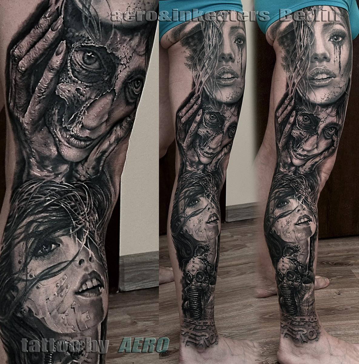 Tattoo von verschieden weiblichen Gesichtern auf dem rechten Bein
