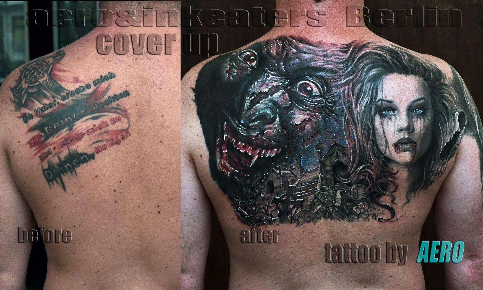 Cover-Up Tattoo von einem Vampirgesicht und einem weiblichen Gesicht auf dem Rücken