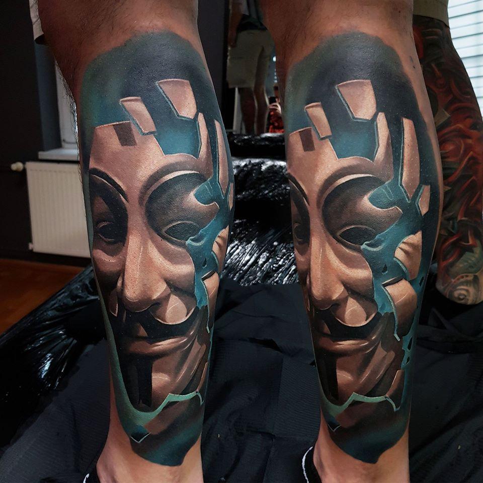 Haus des Geldes Maske als Tattoo