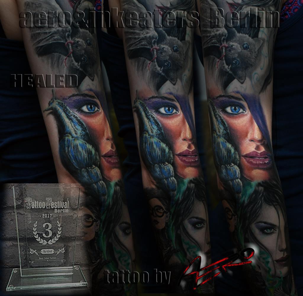Tattoo von einem weiblichen Gesicht und einer Nacktschnecke.