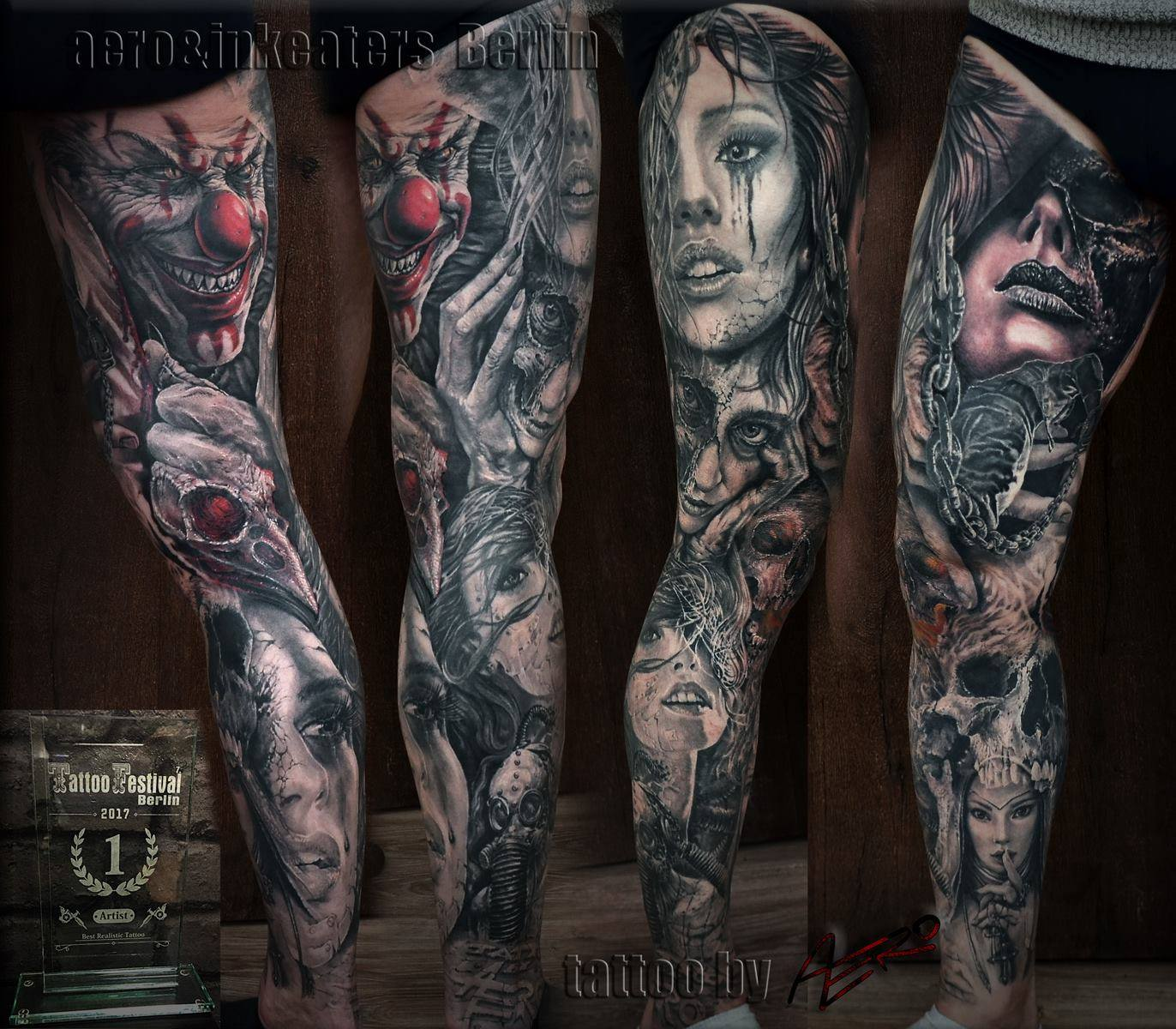Tattoo von verschieden Gesichtern über das ganze Bein.