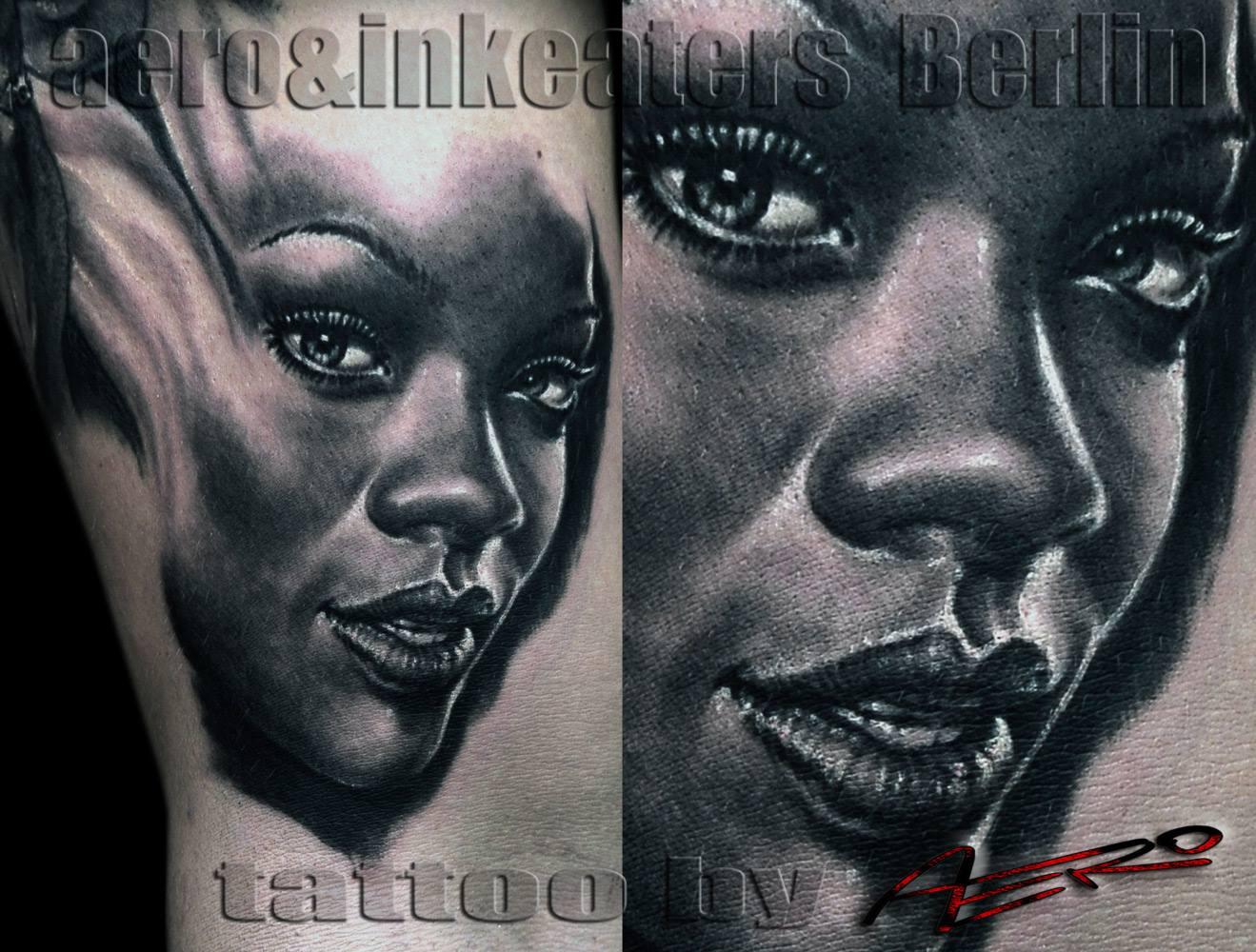 Tattoo von einem weiblichen geschminkten Gesicht.