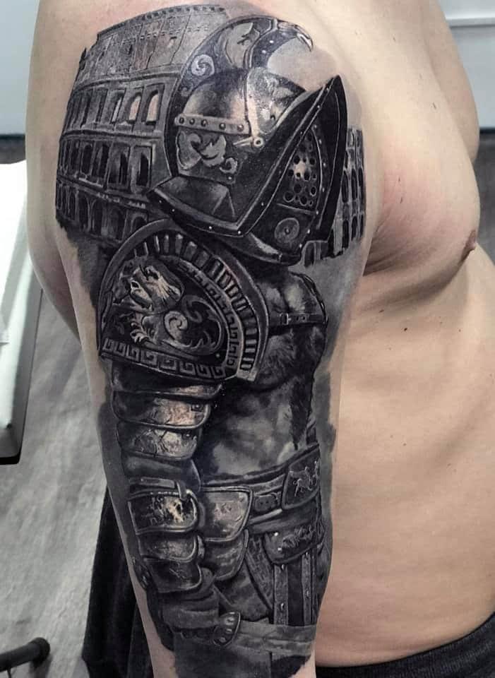 Ritter in Metallausrüstung Tattoo