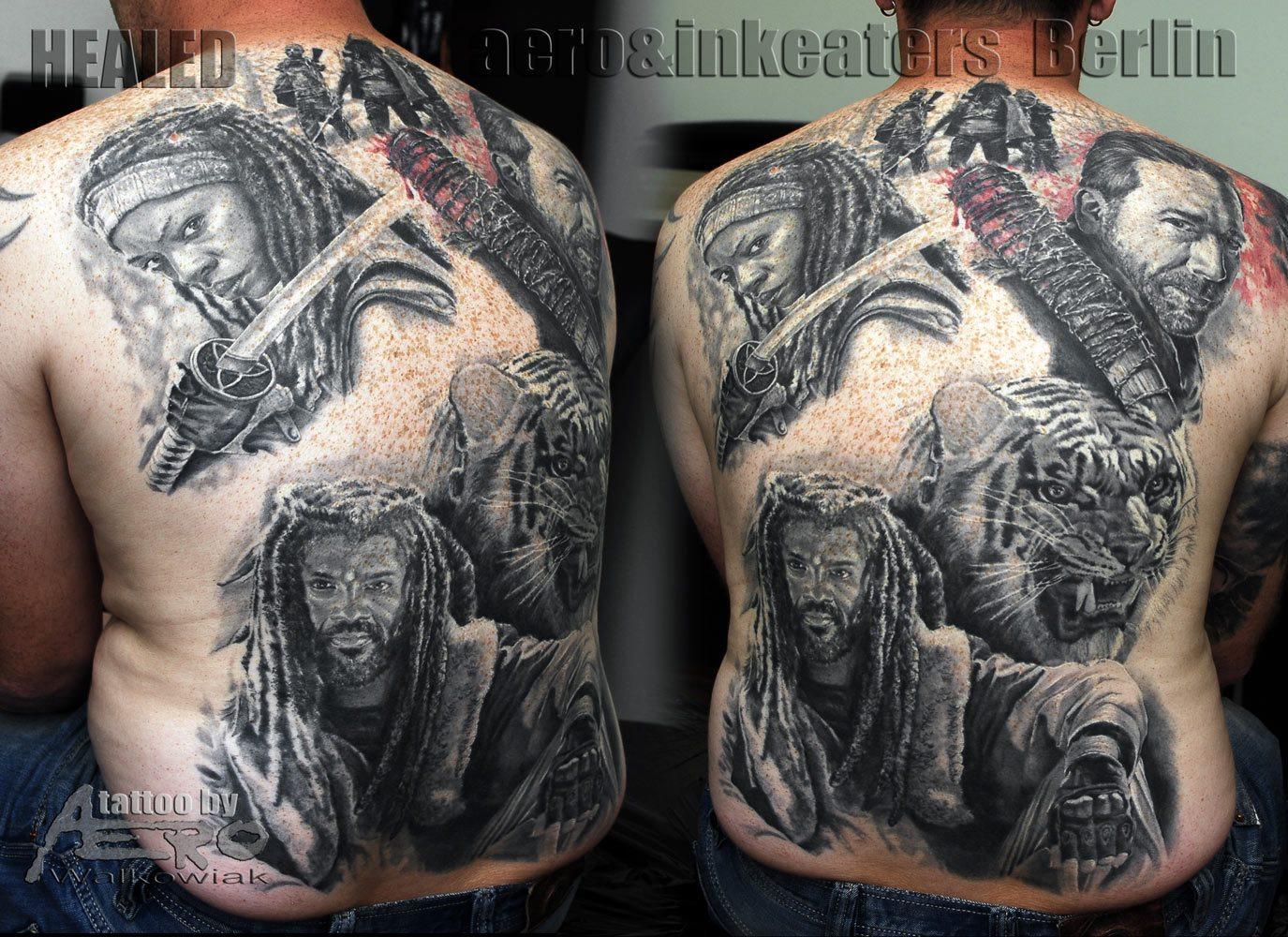 Rücken Tattoo mit mehren Details: Verschiedene Menschen und ein Tiger