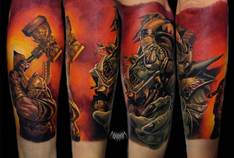 Mann kämpft und wehrt sich Tattoo