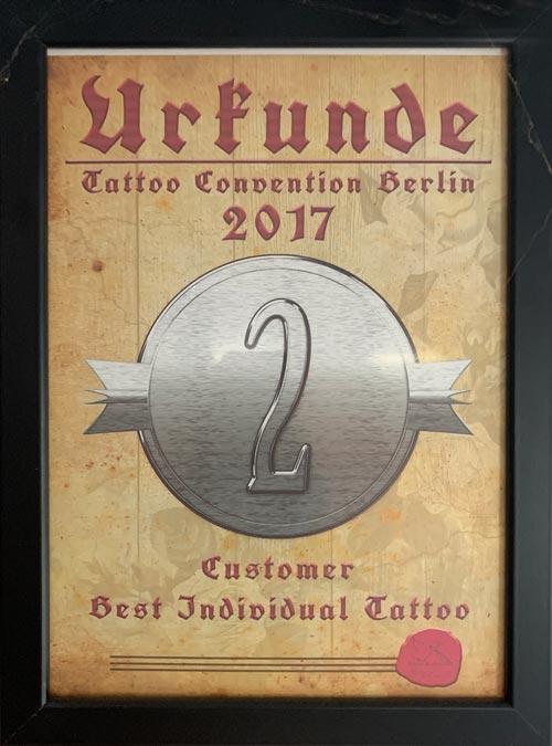 Tattoo Convention Berlin Auszeichnung