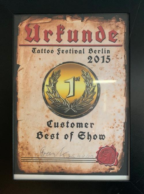 Auszeichnung für inkeaters Tattoo