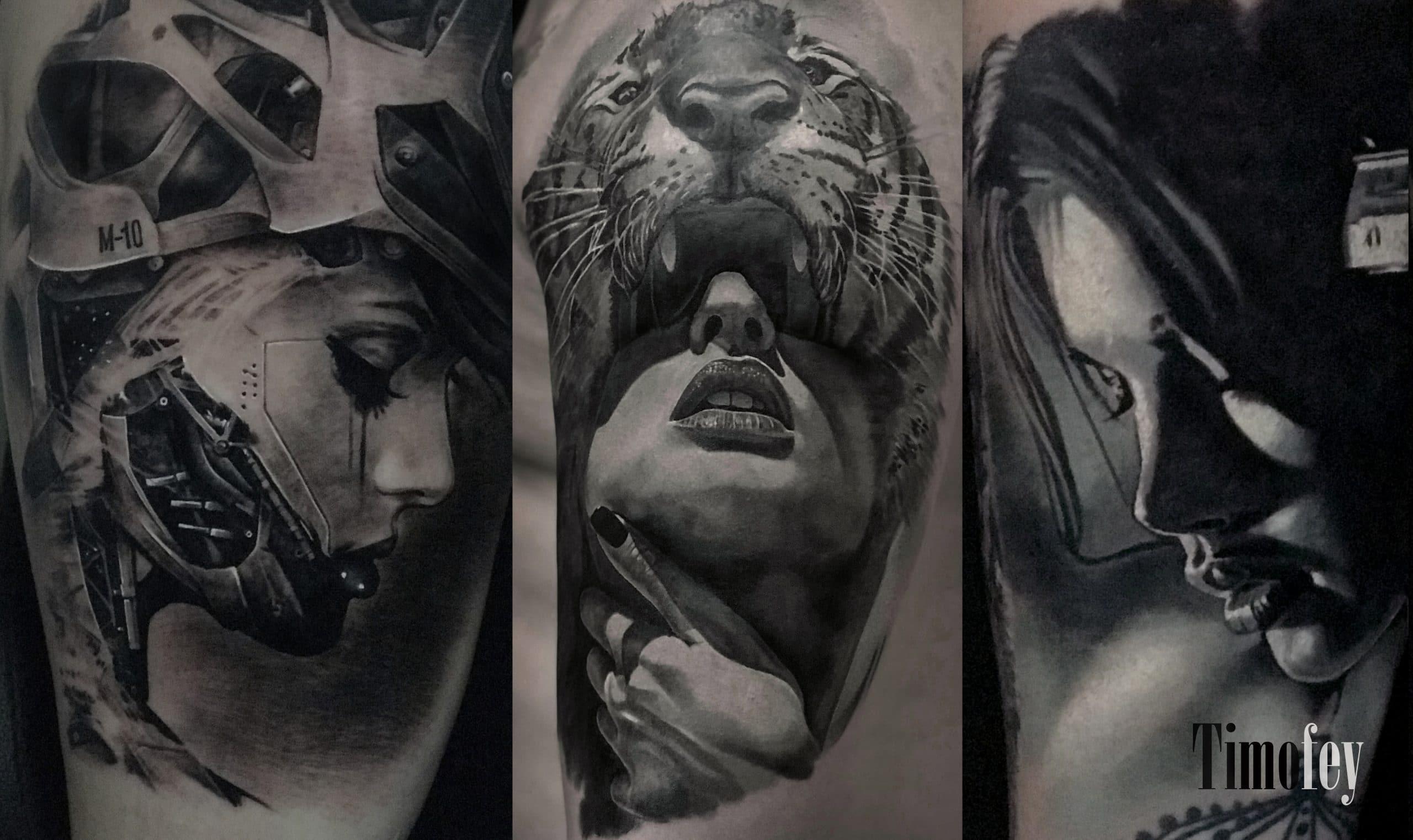 Drei Frauen Gesichter mit drei verschiedenen Details Tattoo